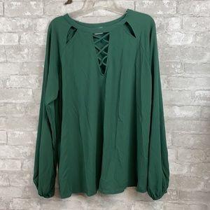 HIP green long sleeve blouse shirt